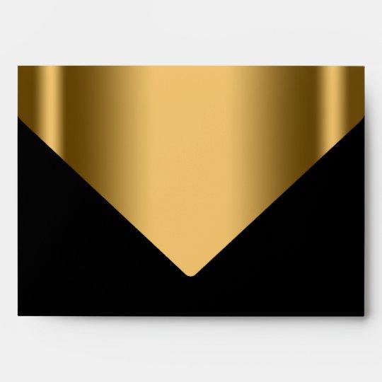 Elegant Black Gold Invitation Envelope Zazzle Com
