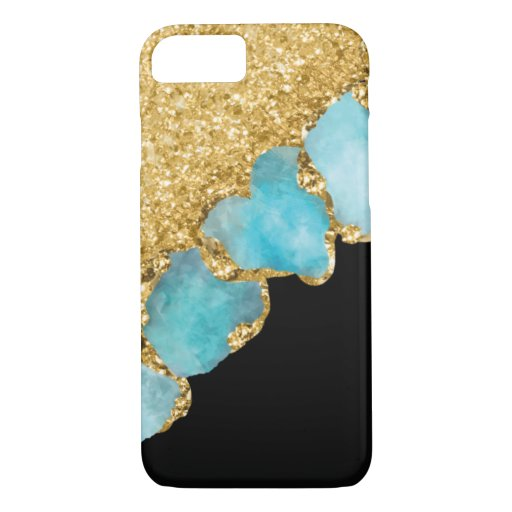 Elegant Black Gold Jewel Sparkle Glitter iPhone 8/7 Case