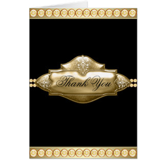 Elegant Black Gold Jewel Thank You Cards