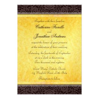 Elegant Black Gold Lace Wedding Invitation