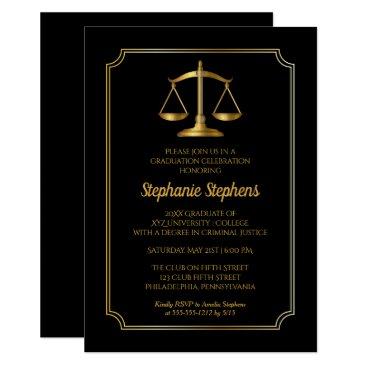 Elegant Black | Gold Law Attorney Graduation Party Invitation