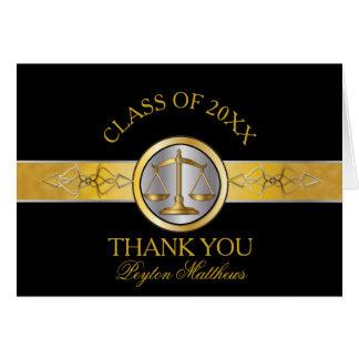 Elegant Black Gold Law School Graduation Thank You Card