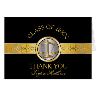 Elegant Black Gold Law School Graduation Thank You Card