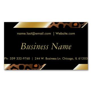 Elegant Black & Gold Leopard Stripes Business Card Magnet