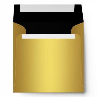 Elegant Black Gold Linen Envelopes