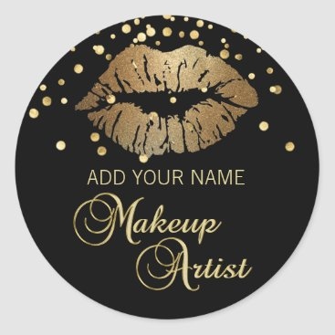 Professional Business Elegant Black Gold  Lips Makeup Artist Classic Round Sticker