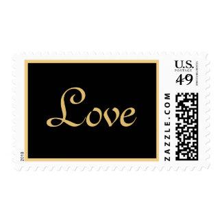 Elegant Black Gold Love Postage Stamp
