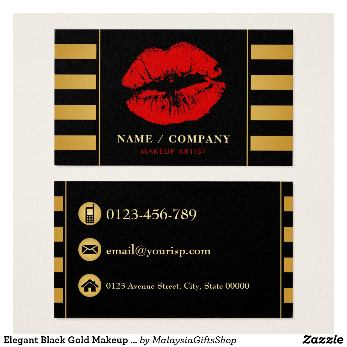 Elegant Black Gold Makeup Artist (Personalize) Business Card