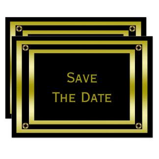 Elegant Black & Gold  Man's 18th Save The Date Card