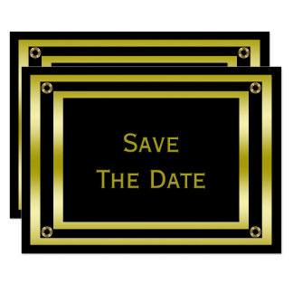 Elegant Black & Gold  Man's 60th Save The Date Card