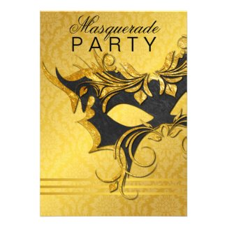 Elegant Black & Gold Masquerade Party Invitation