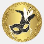 Elegant Black Gold Masquerade Party Stickers