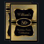 "Elegant Black Gold Mens Birthday Party Invitation<br><div class=""desc"">Elegant Mans Black Gold Birthday Party Men"