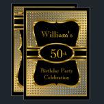 "Elegant Black Gold Mens Birthday Party Invitation<br><div class=""desc"">Elegant Mans Black Gold Birthday Party Men's Black Gold Birthday Mans 21st,  30th 60th 50th 40th all ages Birthday Party invitations man male.</div>"
