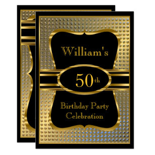 For men 50th birthday invitations zazzle elegant black gold mens birthday party invitation filmwisefo