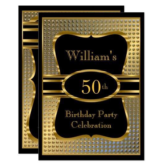 Elegant Black Gold Mens Birthday Party Invitation Zazzle