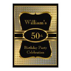 Elegant Black Gold Mens Birthday Party Invitation at Zazzle