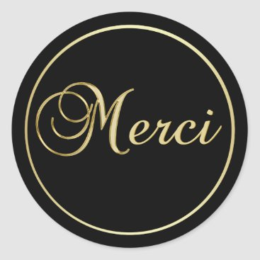 Professional Business Elegant Black Gold MERCI Labels Stickers