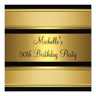 Elegant Black & Gold Metal 50th Birthday Party Card