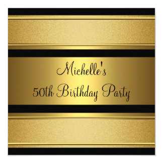 Elegant Black & Gold Metal 50th Birthday Party 5.25x5.25 Square Paper Invitation Card