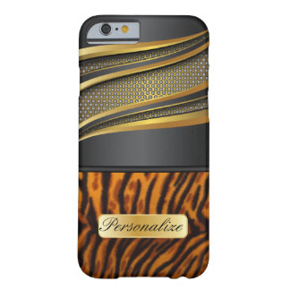 Elegant Black Gold Metal and Tiger Animal Print Barely There iPhone 6 Case