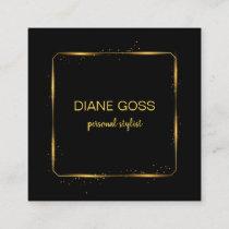 Elegant Black Gold metallic design Square Business Card
