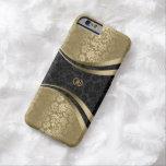 Elegant Black & Gold Metallic Floral Damasks Barely There iPhone 6 Case