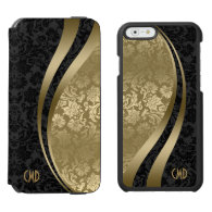 Elegant Black & Gold Metallic Floral Damasks Incipio Watson™ iPhone 6 Wallet Case