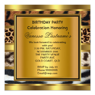 Elegant Black Gold Mixed Animal Birthday Party 2 Personalized Announcement