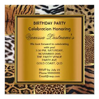 Elegant Black Gold Mixed Animal Birthday Party Personalized Invitation