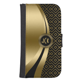 Elegant Black & Gold Modern Geometric Pattern Phone Wallet