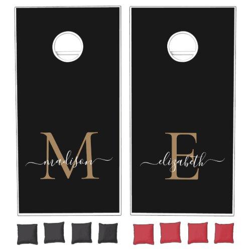 Elegant Black Gold Modern Monogram Script Name Cornhole Set