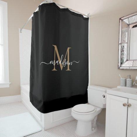 Elegant Black Gold Monogram Feminine Script Name Shower Curtain