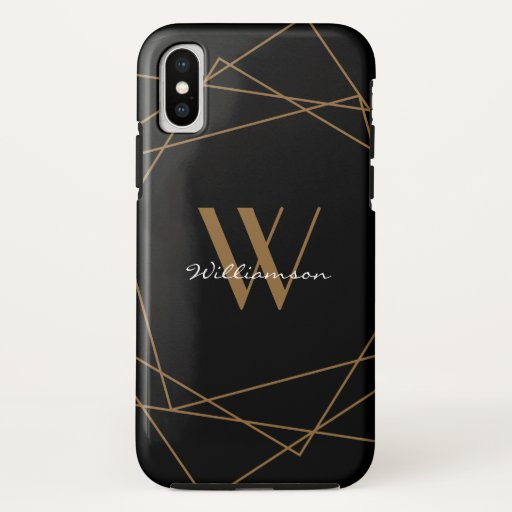 Elegant Black Gold Monogram Geometric Pattern Name iPhone XS Case