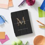 "Elegant Black Gold Monogram Girly Chic Script Name iPad Air Cover<br><div class=""desc"">Elegant Black Gold Monogram Girly Chic Script Name iPad Cover</div>"