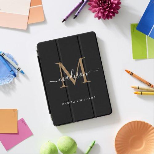 Elegant Black Gold Monogram Girly Chic Script Name iPad Air Cover