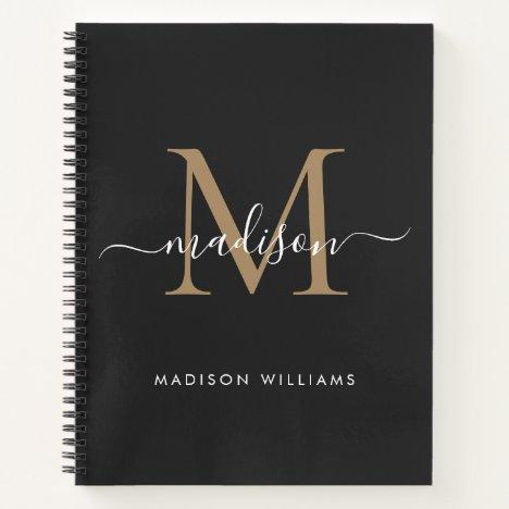 Elegant Black Gold Monogram Initial Logo Name Notebook