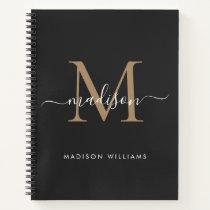 Elegant Black Gold Monogram Initial Script Name Notebook