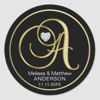 Elegant Black Gold Monogram Letter A Heart Diamond Classic Round Sticker