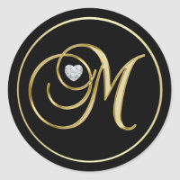 Elegant Black Gold Monogram Letter M Heart Diamond Classic Round Sticker