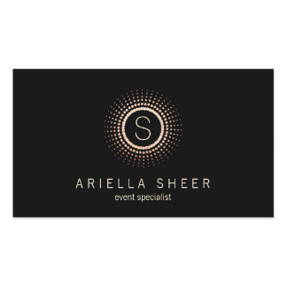 Elegant Black Gold Monogram Mandala Circle Logo Business Card