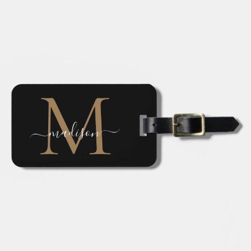 Elegant Black Gold Monogram Script Name Stylish Luggage Tag