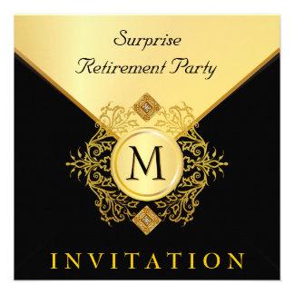 Elegant Black Gold Monogram Special Occasion Invitation