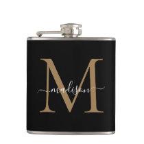 Elegant Black Gold Monogram Stylish Script Name Flask