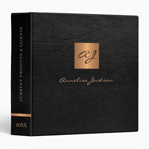 Elegant black gold monogrammed leather classy 3 ring binder