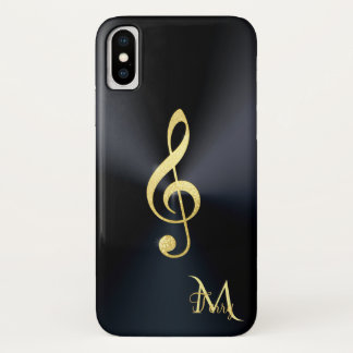 Elegant Black Gold Music Clef Monogram iPhone X Case