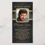 """Elegant Black Gold Music Notes Memorial Thank You<br><div class=""""desc"""">Elegant Black &amp; Gold Music Notes Memorial Photo Thank You Add Your Photo &amp; Personalize Text Art &amp; Design by Julie Alvarez This card is a beautiful memorial and thank you card for musicians featuring a custom photo and short thank you message which you can personalize. ------------------------------------------------------------------------------------------ HELP CUSTOMIZING PHOTO...</div>"""
