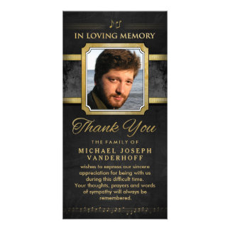 Elegant Black Gold Music Notes Memorial Thank You Card