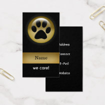 elegant black gold paw print pet Business Card