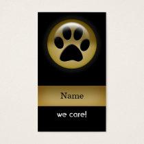 elegant black gold paw print pet Business Card